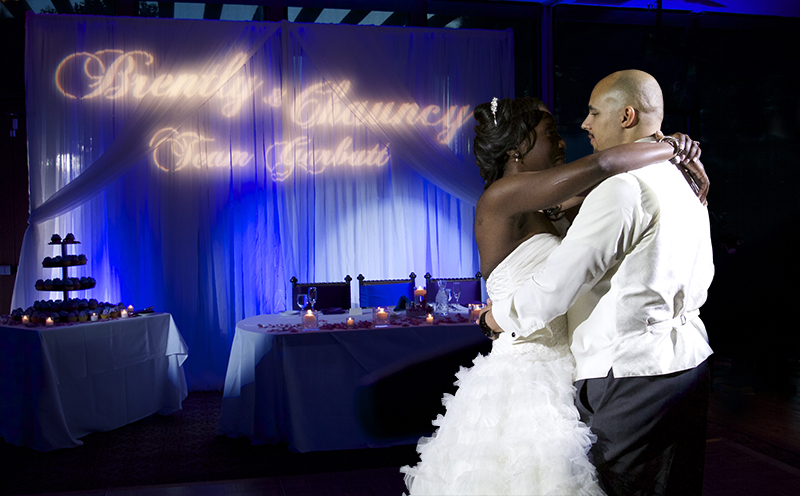Angel Park Wedding Las Vegas Uplighting, Wedding Drape Backdrop, Gobo Monogram