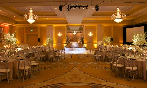 Hilton Lake Las Vegas Wedding Gobo Pattern Wash Uplighting Uplights Centerpiece