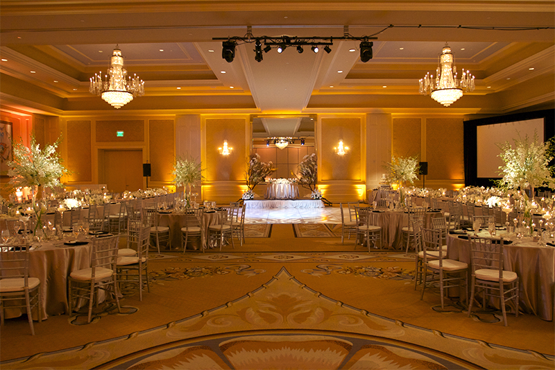 Hilton Lake Las Vegas Wedding - Gobo Pattern Wash & Wedding Uplighting, Uplights, Centerpiece Pin Spot Lighting