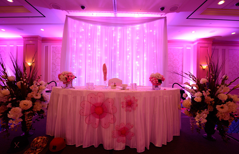 Pipe and Drape Debut Uplighting Quinceanera Uplighting Uplights Drape Backdrop Event Draping - Gold Coast Casino Weddings Las Vegas San Diego Los Angeles