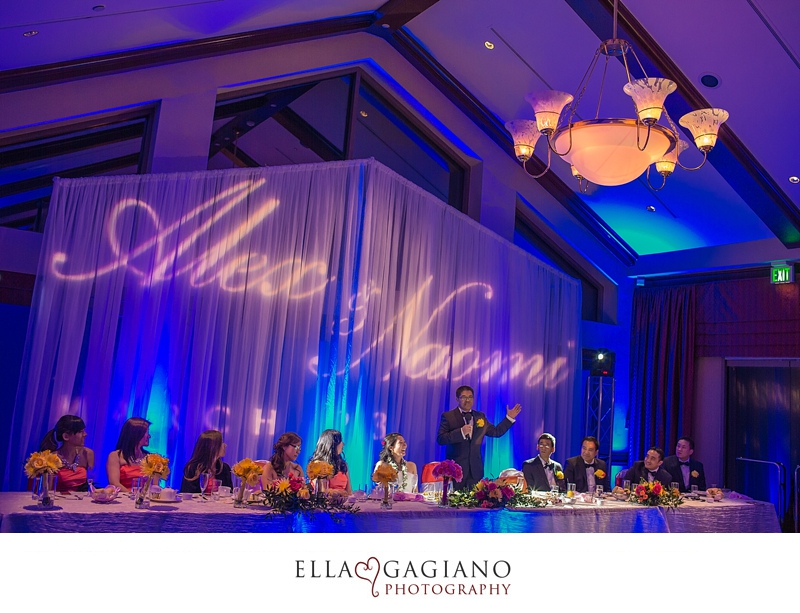 TPC Summerlin Wedding Lighting Uplighting Gobo Monogram Draping Backdrop Las Vegas