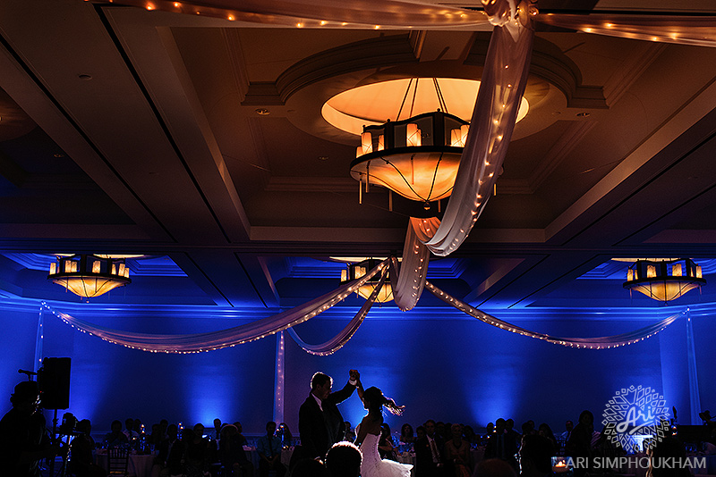 ceiling drape, twinkle lights, uplights, lighting, santa monica, los angeles, las vegas, chiffon